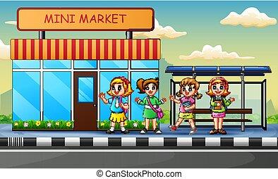 σχολικό λεοφωρείο , παιδιά , αναμονή , άκρα του δρόμου , γελοιογραφία