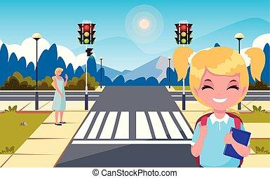 σχολικό λεοφωρείο , σταματώ , δρόμοs , μαμά , κορίτσι