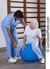 σωματικός therapist , μερίδα φαγητού , ένα , ασθενής