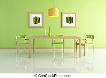σύγχρονος , δωμάτιο , γεύμα , πράσινο
