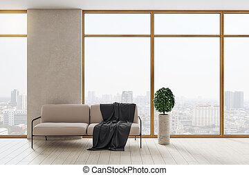 σύγχρονος , πανοραματικός , καναπέs , δωμάτιο , αντίκρυσμα του θηράματοσ. , αναμονή , πόλη