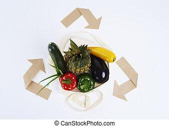 σύμβολο , ανακύκλωση , τσάντα , reusable , λαχανικό