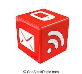 σύμβολο , επικοινωνία , κύβος , κόκκινο , 3d