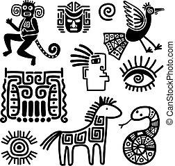 σύμβολο , μεξικάνικος , φυλετικός , μαύρο , γραμμή