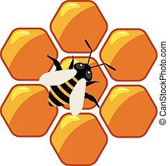 σύμβολο , μικροβιοφορέας , honeycells, εργαζόμενος , μέλισσα