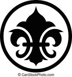 σύμβολο , de , fleur , απάνεμη πλευρά