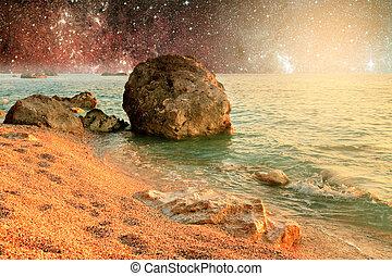 σύμπαν , τοπίο , από , αλλοδαπός , πλανήτης , με , νερό , μέσα , βαθύς , διάστημα