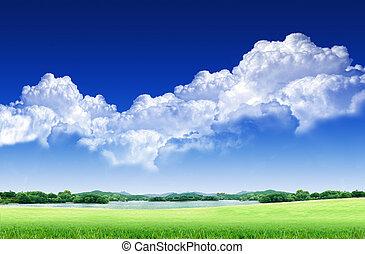 σύνεφο , γαλάζιος ουρανός , αγίνωτος αγρός , άσπρο