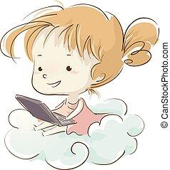 σύνεφο , κορίτσι , laptop , εικόνα , παιδί