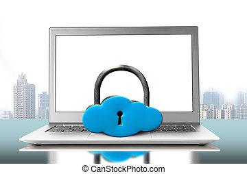 σύνεφο , laptop , κλειδαριά , σχήμα