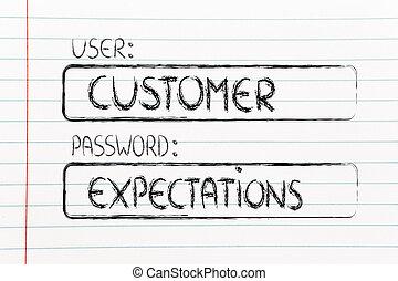 σύνθημα , πελάτης , expectations, μεταχειριζόμενος