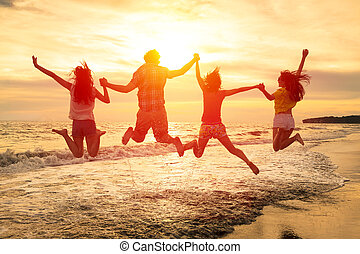σύνολο , άνθρωποι , νέος , αγνοώ , παραλία , ευτυχισμένος