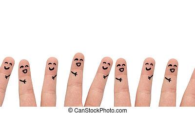 σύνολο , άνθρωποι , νέος , μαζί , multi-ethnic , αστείο , τέχνη , έχει , δάκτυλο