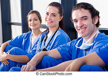 σύνολο , από , ευτυχισμένος , γιατροί