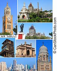 σύνολο , από , ιστορικός ανέγερση , μέσα , mumbai , πόλη , κολάζ