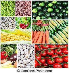σύνολο , κολάζ , λαχανικά , - , διάφορος , λαχανικό , φρέσκος