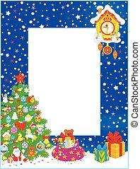 σύνορο , με , χριστουγεννιάτικο δέντρο