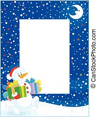 σύνορο , με , xριστούγεννα , χιονάνθρωπος