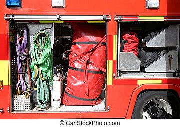σώζω , φωτιά , εσωτερικός , εξοπλισμός , φορτηγό , αγέλη