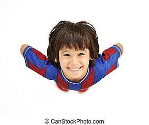 σώμα , αγόρι , μικρός , γεμάτος , θετικός , διαφορετικός , απομονωμένος , παιδί , επάνω , άσπρο , φρέσκος , χαμογελαστά , γωνία , ευτυχισμένος