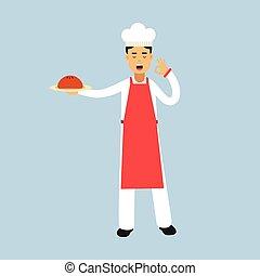 τέλειος , πιάτο , εντάξει , κράτημα , χορήγηση , χαρακτήρας , εικόνα , ομοειδής , αρχιμάγειρας , μαγειρεύω , μικροβιοφορέας , υπέροχος , κέηκ , αρσενικό , χειρονομία