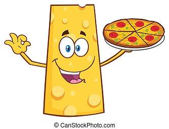 τέλειος , τυρί , χαρακτήρας , απονέμω , γουρλίτικο ζώο , γελοιογραφία , πίτα με τομάτες και τυρί