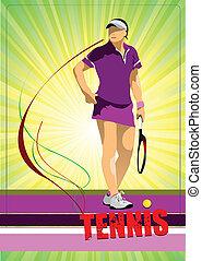 τένιs , γυναίκα , μικροβιοφορέας , player., έγχρωμος