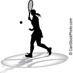 τένιs , γυναίκεs , sihouette, παίχτης