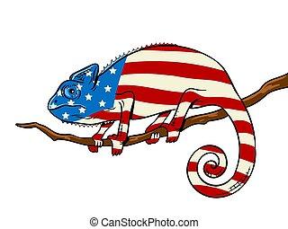 τέχνη , έγχρωμος , χαμαιλέοντας , σημαία , κρότος , αμερικανός , μικροβιοφορέας