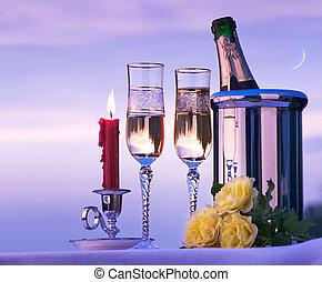 τέχνη , ευτυχισμένος , ρομαντικός γεύμα , με , κρασί , επάνω , ο , ουρανόs , φόντο