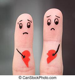 τέχνη , ζευγάρι , ανδρόγυνο. , σπασμένος , δάκτυλο , κράτημα , heart.