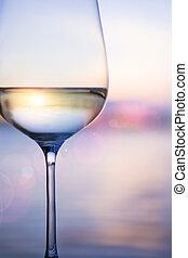 τέχνη , λευκό κρασί , επάνω , ο , ουρανόs , φόντο , με , θαμπάδα