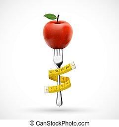 ταινία , φρούτο , μήλο , πηρούνι , μέτρημα , τριγύρω