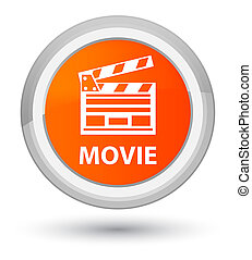 ταινία , (cinema, ακροτομώ , icon), ακμή , πορτοκάλι , στρογγυλός , κουμπί