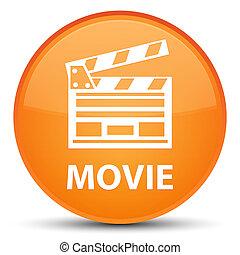 ταινία , (cinema, ακροτομώ , icon), ειδικό , πορτοκάλι , στρογγυλός , κουμπί