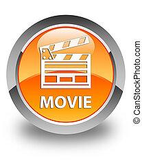 ταινία , (cinema, ακροτομώ , icon), λείος , πορτοκάλι , στρογγυλός , κουμπί