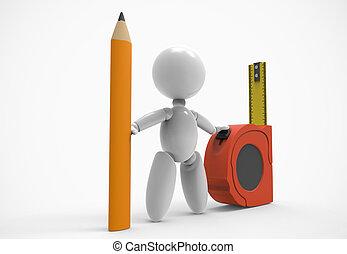 ταινία , people-pencil, μέτρημα , 3d , καινούργιος
