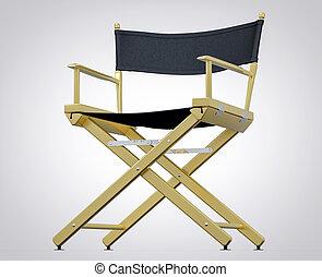 ταινία , set., απομονωμένος , διευθυντής , στούντιο , chair., hollywood , ταινία , 3d