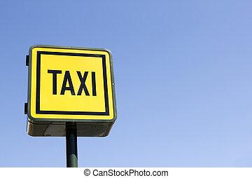 ταξί , γαλάζιος ουρανός , σήμα