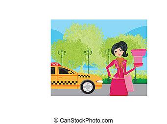 ταξί , κομψός , αναμονή , γυναίκα