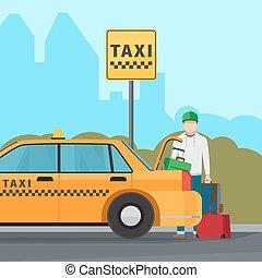 ταξί , πόλη , μεταφορά , υπηρεσία