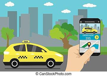 ταξί , υπηρεσία , κινητός , app , μοντέρνος , πόλη , δρόμοs , οθόνη