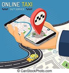 ταξί , isometric , γενική ιδέα , online