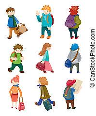 ταξιδεύω , θέτω , άνθρωποι , γελοιογραφία , απεικόνιση