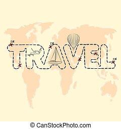 ταξιδεύω , χάρτηs , επάνω , ένα , σφαίρα