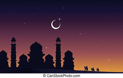 ταξιδιώτες , άραβας , καμήλες , εγκαταλείπω , τζαμί , περίγραμμα