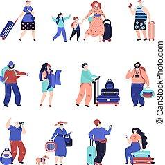 ταξιδιώτες , ζευγάρι , ταξιδεύω , suitcase., μονό , αεροδρόμιο , αρσενικό , θέτω , περιηγητής , ανώτερος , χαρακτήρας , διακοπές , μικροβιοφορέας , αδρανές μέλος ομάδας , ευπρεπής , ακόλουθοι. , γυναίκα