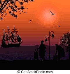 ταξιδιώτες , πλοίο , περίγραμμα , θάλασσα , άνθρωποι