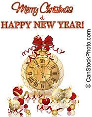 & , ταπετσαρία , ρολόι , εικόνα , xριστούγεννα , μικροβιοφορέας , εύθυμος , έτος , καινούργιος , χριστούγεννα