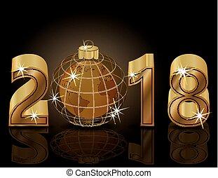ταπετσαρία , χρυσαφένιος , & , εικόνα , έτος , μικροβιοφορέας , εύθυμος , καινούργιος , πλανήτης , xριστούγεννα , ευτυχισμένος